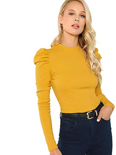 (Floerns Women's Puff Sleeve Round Neck Casual T Shirt Yellow M)