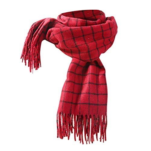 Byyong Men Womens Fall Winter Scarf Classic Tassel Plaid Scarf, Warm Thickening Trend Wild Knit Scarf Shawl Bib