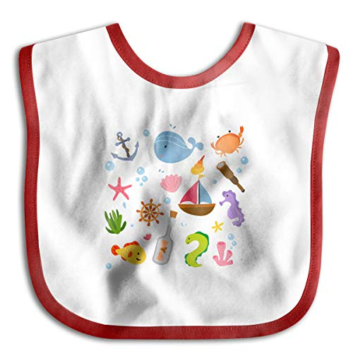 Marine Animals Cartoon Funny Baby Bibs Burp Infant Cloths Drool Toddler Teething Soft Absorbent -