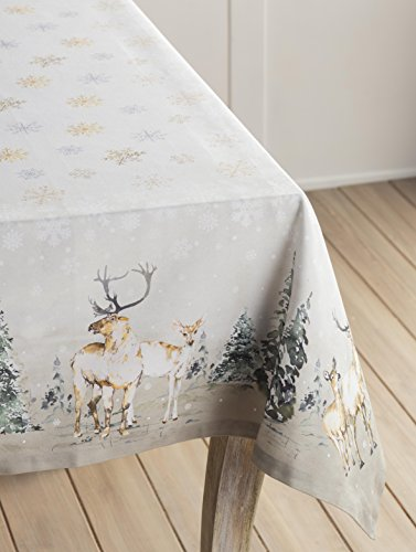 """Maison d' Hermine Deer in The Woods 100% Cotton Tablecloth for Kitchen Dinning Tabletop Decoration Parties Weddings Thanksgiving Christmas (Rectangle, 60 Inch by 108 Inch) - Designed in Europe 100% Cotton & Machine washable. Package Includes : 1 Tablecloth Our collections are featured in Elle Decor and House Beautiful for """"Best Thanksgiving Tablecloth"""". - tablecloths, kitchen-dining-room-table-linens, kitchen-dining-room - 415ueuieLBL -"""