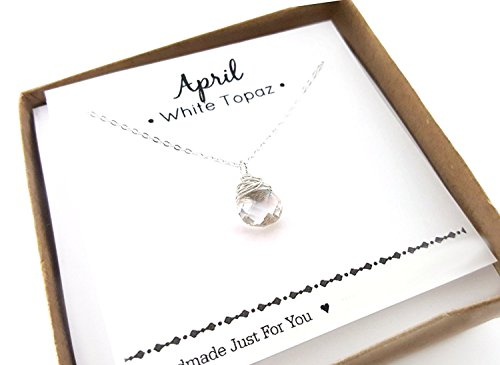 April Design - April Birthstone White Topaz Gemstone Necklace - Sterling Silver Briolette Teardrop Jewelry - Gift for Her