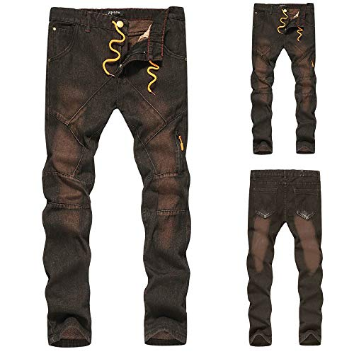 Slim Hip Zip Denudati Fit Pantaloni Jeans Con Strappati Biker Vintage Caffè Da Casual Lavoro Uomo Denim Topgrowth Scala Pantalone Hop Pw0qw