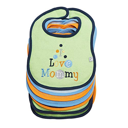 I Love Mommy/Daddy - Boy 5 Pack Bibs + 2 Pack Burp by Frenchie Mini Couture