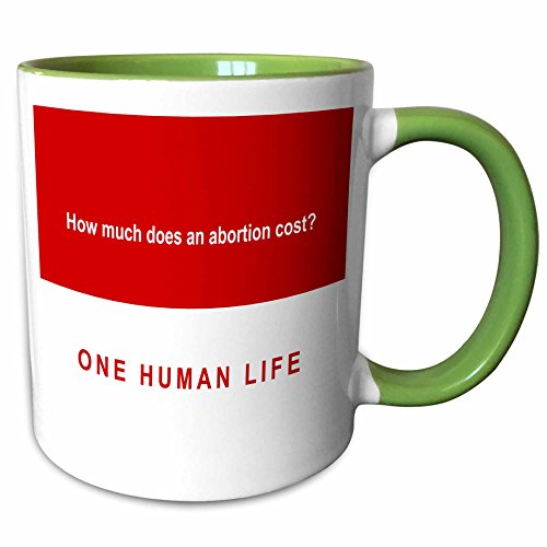 3dRose Mark Andrews ZeGear Spiritual - How Much Does Abortion Cost on Red Background - 11oz Two-Tone Green Mug (mug_60813_7)