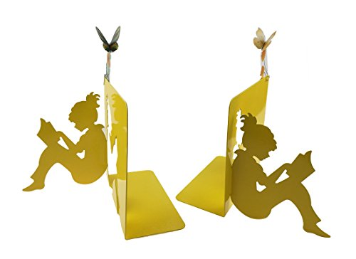 One Pair Metal 3D Paper-cut Reading Girl Patten Moment Bookends Book Ends With 2 Flying Butterfly Bookmark For Kids Teachers Students Study Gift School Library Desk Office Home Decoration (Yellow) by Apol