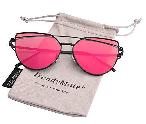 TrendyMate-Womens Street Fashion Metal Twin Beam Flat Mirror Lens Cat Eye Sunglasses ... (Black/Red, 57mm)]()