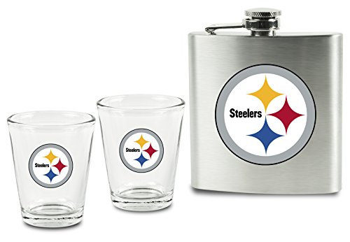 Steelers Shot Glasses - NFL Pittsburgh Steelers Shot Glasses and Brushed Stainless Steel Flask Set