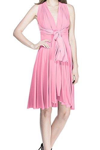 Vestido de Fiesta de Mujer Sin Mangas de Boho de Dama de Honor Transformer/Infinity Maxi Corto Coctel Noche Vestidos de Cóctel Rodilla Multi-Way Dresses Elegante sin Respaldo Rosa