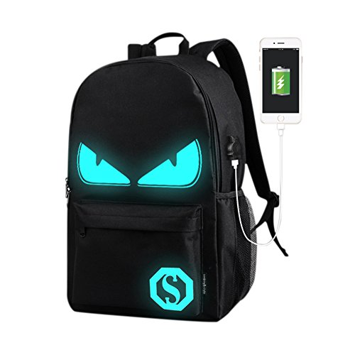 Amazon.com: Luminous Cartoon Print Backpack with USB Charging Port,Waterproof Breathable Outdoor Trip and Travel Knapsack: Clothing
