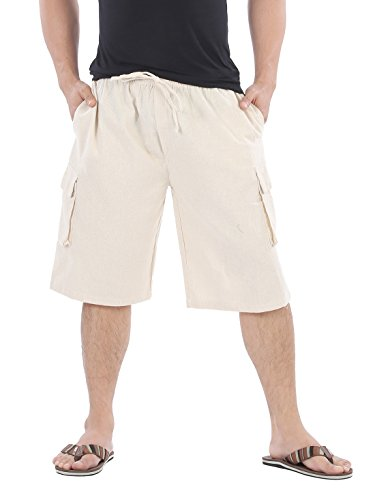 CandyHusky 100% Cotton Men's Lounge Cargo Shorts Elastic Waist With Drawstring (Natural (Drawstring Cargo Shorts)