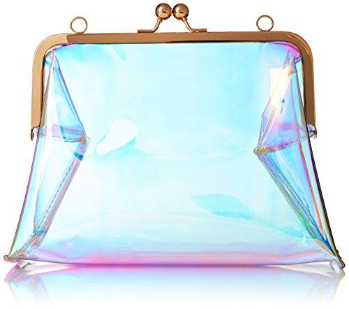 Hoxis Clear Transparent PVC Kiss Lock Chain Cross Body Bag Womens Clutch
