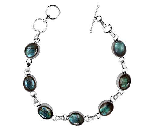 Genuine Oval Shape Labradorite Link Bracelet 925 Silver Overlay Handmade Vintage Bohemian Style Jewelry for Women Girls ()