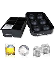 FSDUALWIN Ice Cube Trays 2 Pack, Sphere Round Ice Ball Maker & Large Square Ice Cube Mold for Chilling Bourbon Whiskey, Cocktail, Beverages and More (Black)