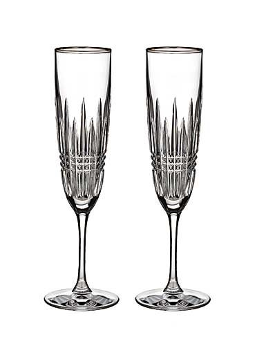 Waterford Crystal Lismore Diamond Platinum Champagne Flute, Pair (Glass Champagne Platinum)