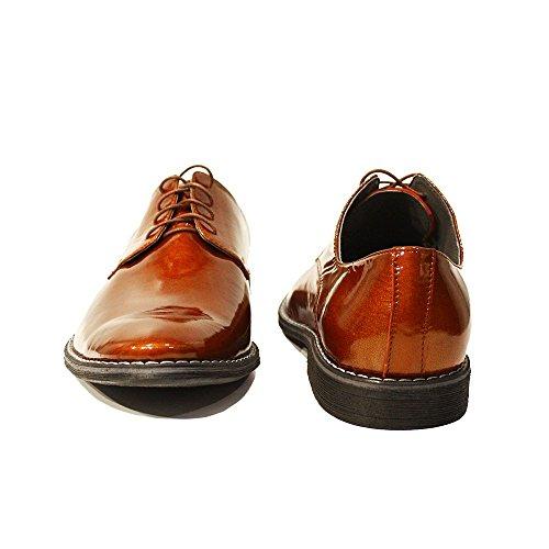 Modello Ambrogio - Handmade Italiano Da Uomo In Pelle Marrone Scarpe da sera - Pelle di capra Pelle di brevetto - Allacciare
