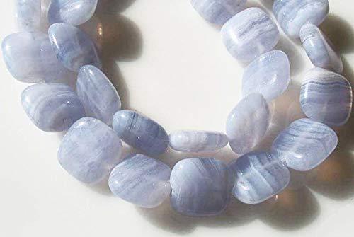 Blue Horizon! 11x10x4mm Blue Lace Agate Square Bead Strand 109523