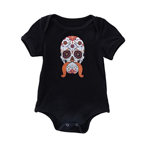 Toddler Baby Girls Boys Clothes Sets for 0-18 Months, Lovely Short Sleeve Halloween Skull Onesies Rompers Outfits (6-12Months, Orange)