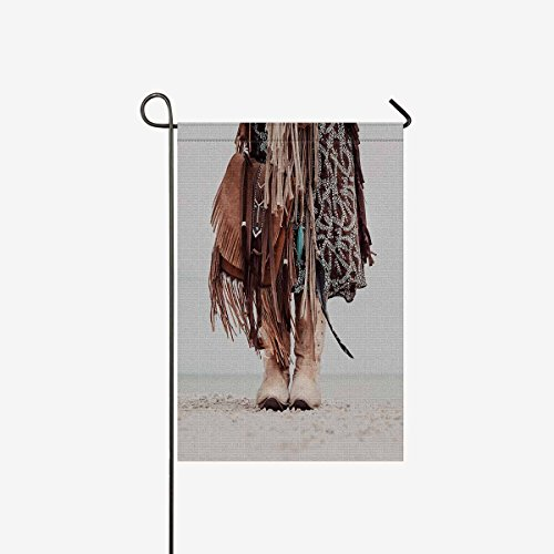 InterestPrint Cool Hippie Girl with Cowboy Boots Garden Flag