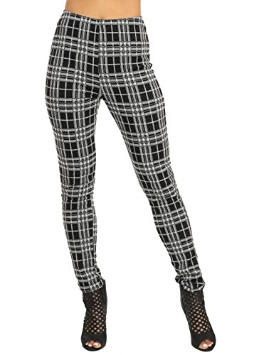 Sexy Black and White High Waisted Pull On Checkered Stretchy Skinny Pants 40578F
