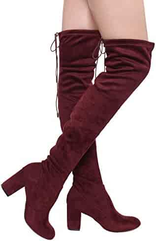 d08816c34e63 ShoBeautiful Women s Thigh High Boots Stretchy Over The Knee Chunky Block  Heel Boots