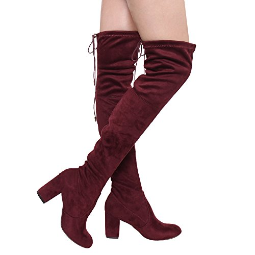 ShoBeautiful Women's Over The Knee Boots Stretchy Thigh High Chunky Block Heel Boots Burgundy