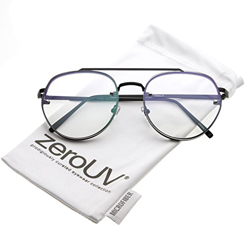 d679ffca37 Modern Slim Brow Bar Rimless Clear Round Flat Lens Aviator Eyeglasses 59mm.  Tap to expand