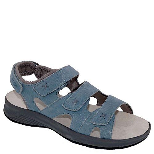 Trok Schoen Bayou Womens Therapeutische Diabetische Extra Diepte Sandaal Schoen Leer Geen Lichtblauwe Microdot