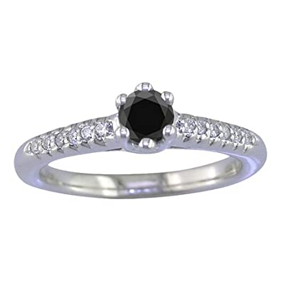 a45e09ee486 Femme Bague Or Blanc 375 1000 Diamant Noir et Diamant 0.5 Karat T54 ...