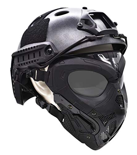 JFFCESTORE Tactical Protective Airsoft Mask Full Face Mask Dual Mode Wearing Design Adjustable Strap for Halloween Airsoft Paintball Cosplay Costume Party Hockey Game Movie Props