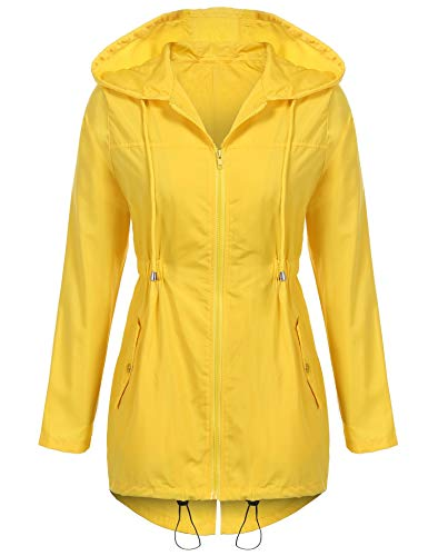 Waterproof Aimage Hooded Raincoat Rain Outerwear Lightweight Long Sleeve Jacket Womens Yellow nAn0SxqRw