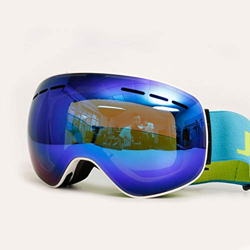 Ski goggles, waterproof, anti-radiation, bulletproof, sandproof, eye protection, sharpening, windproof, anti-fog 5 colors optional men and women double-layer large spherical ski eyes coca glasses,whit (Riot Ski)