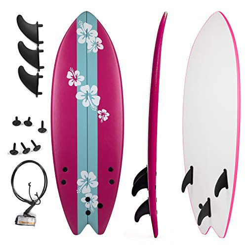 Grande Juguete Surfboard 5'5″, Soft Top Surf Board, Lightweight Surfing Foamie Board Tri Ocean Beach Boards Great for Kids, Adults and Children