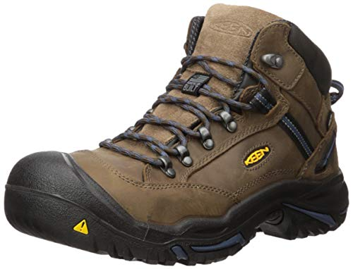 KEEN Utility - Men's Braddock Mid (Steel Toe) Waterproof Leather Work Boot, Bison/Ensign Blue, 10 EE