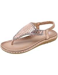 30ea540f07dc07 Fashion Women Summer Bohemian Clip Toe Soft Beach Sandals Ladies Brief Rhinestones  Flip Flops Comfortable Flats