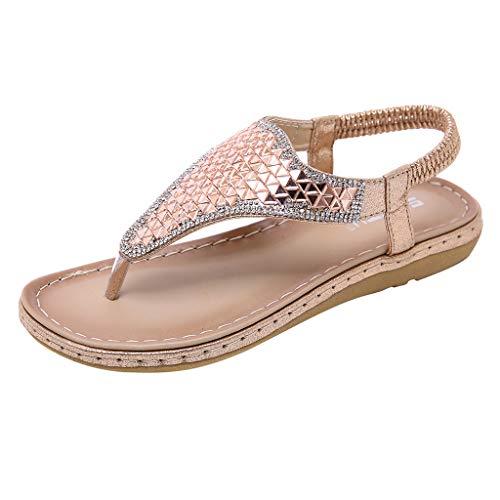 Sunhusing Women Euro-American Style Flip Flops Sandals Boho Rhinestones Embellished Clip Toe Comfort Beach Sandals Gold