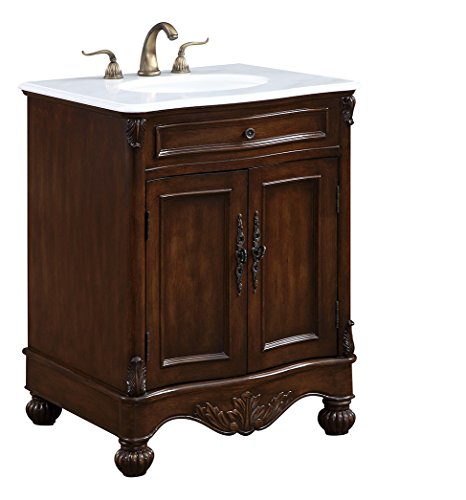 Elegant Decor VF-1033 Single Bathroom Vanity Set, 27'', Teak/VF-1033 by Elegant Decor