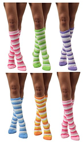 Womens Thick Comfortable Soft Fuzzy Cozy Calf High Winter Plush Socks 6 Pairs Size ()
