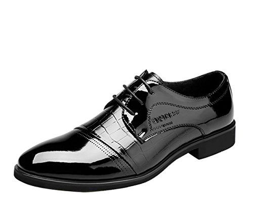 Gaorui Herren Patent Oxford Schuhe Spitze bis Business Kleid Formale Büro Schuhe, Schwarz - Schwarz - Größe: 42
