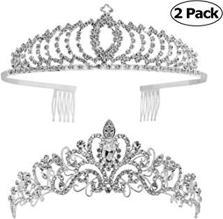 (Tiaras and Crowns,Vinsco 2 Pack Crystal Tiara Crown Headband Headpiece Rhinestone Hair Jewelry for Women Ladies Little Girls Bridal Bride Princess Queen Birthday Wedding Pageant Prom Party Sliver)