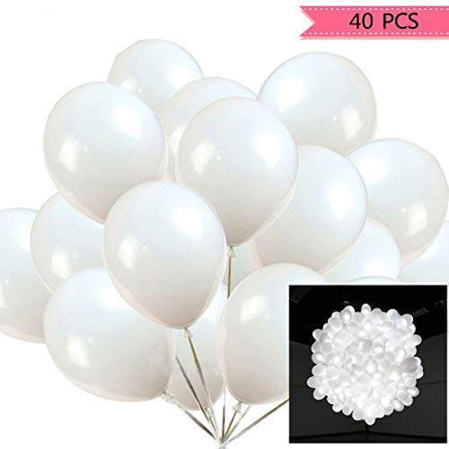 White Light Up Balloons (40pcs LED Light Up White Balloons by ALUNME Non Flashing Party Wedding Balloon Lights Long Standby Time for Dark Party Supplies,Wedding)