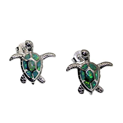 Vanessa Blue Opal Sea Turtle Earrings Birthstone Jewelry Birthday Stud Earrings Gifts for Her (Earrings-Green)