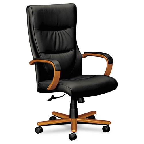 Basyx VL844HSP11 VL844 Series Leather High-Back Swivel/Tilt Chair, Black/Bourbon Cherry
