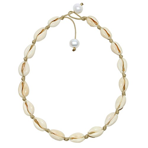 POTESSA Natural Shell Beads Handmade Hawaii Wakiki Beach Choker Adjustable for Girls Ladies (Fashionable Shell Beads Necklace)
