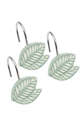 Popular Bath Shower Curtain Hooks, Fiji Collection, Set of 12, Mint ()