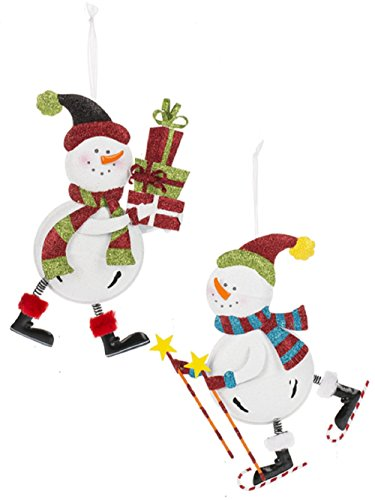 Ganz Skating Snowmen Ornaments Set of 2 Assorted