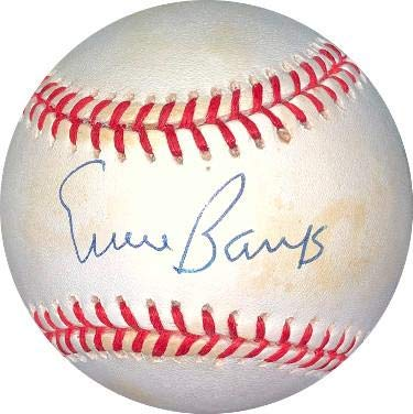 Autographed Ernie Banks Baseball - RONL Rawlings Official National League minor toning Hologram #DD64385) - JSA Certified