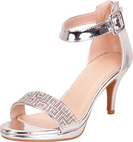 (Cambridge Select Women's Glitter Crystal Rhinestone Buckled Ankle Strap Mid Heel Dress Sandal,9 B(M))