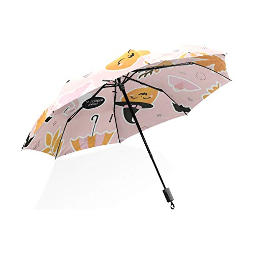 OREZI Automatic Travel Umbrella Light Compact Folding Umbrella Flamingo Celeb Halloween Windproof Sun & Rain Umbrella for Women Men -