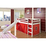 Twin Tent Loft Bed with Slide Color: Red, Finish: White For Sale
