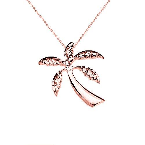 Collier Femme Pendentif 10 Ct Or Rose Californie Exotique Palmier (Livré avec une 45cm Chaîne)